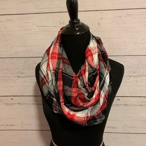 Accessories - Red/Black/White Plaid infinity scarf